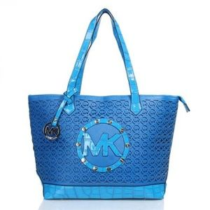 Michael Kors Embossed Stud Perforated Medium Blue